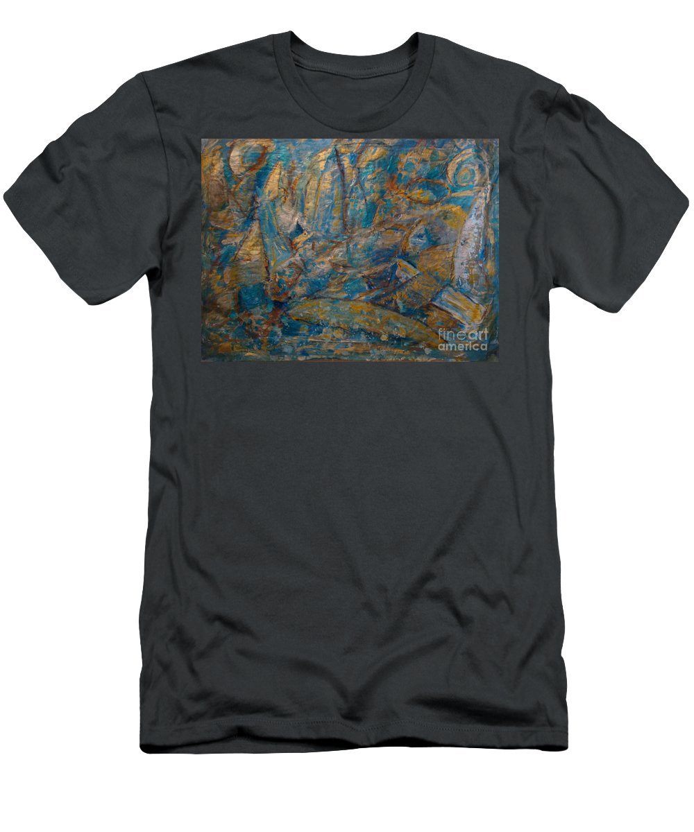 Sea Scape Men's T-Shirt (Athletic Fit) featuring the painting Twilight Sails by Fereshteh Stoecklein
