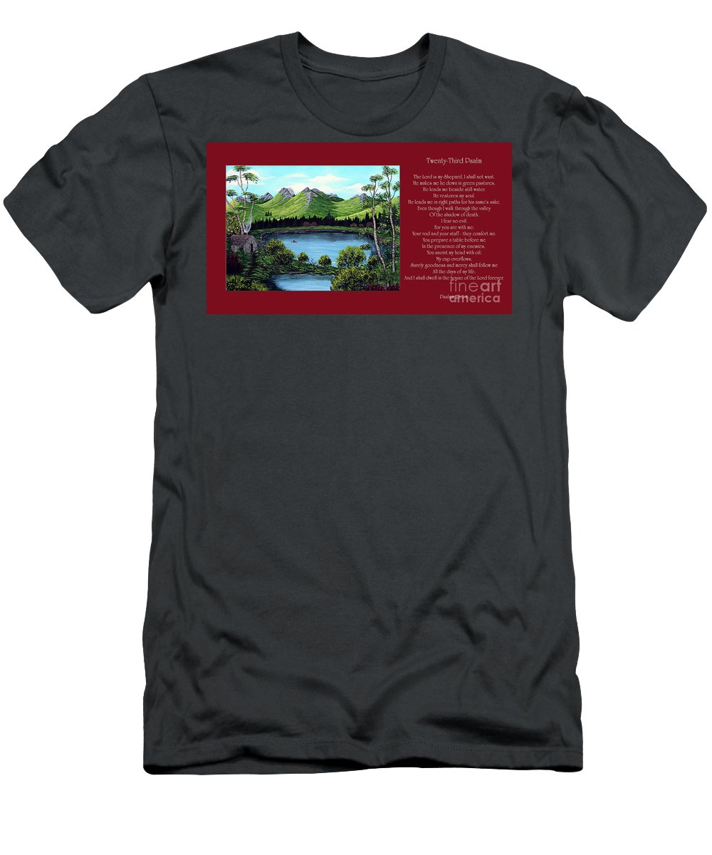 Twenty Third Psalm Men's T-Shirt (Athletic Fit) featuring the painting Twin Ponds And 23 Psalm On Red Horizontal by Barbara Griffin