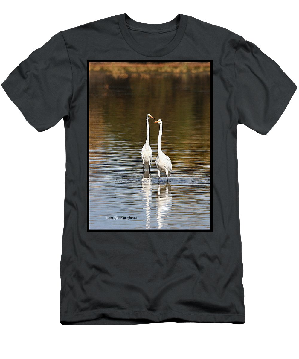 Two Egrets In The Pond Men's T-Shirt (Athletic Fit) featuring the photograph Two Egrets In The Pond by Tom Janca