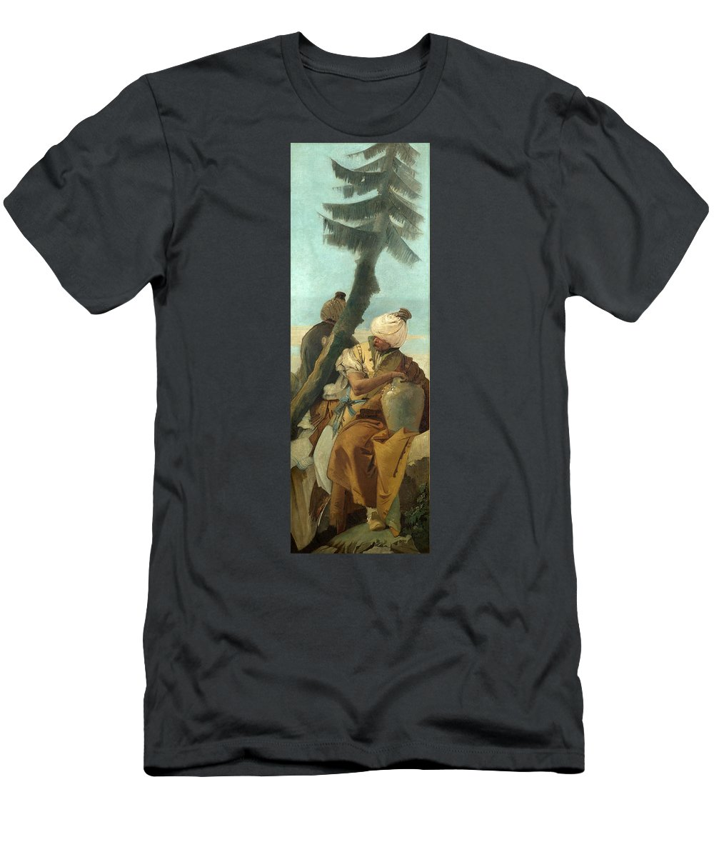 Giovanni Battista Tiepolo Men's T-Shirt (Athletic Fit) featuring the painting Two Orientals Seated Under A Tree by Giovanni Battista Tiepolo