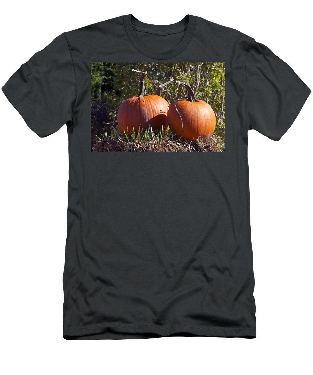 Pumpkin Men's T-Shirt (Athletic Fit) featuring the photograph Two Pumpkins by Sharon Talson