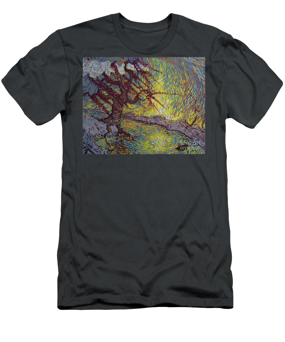 Landscape Men's T-Shirt (Athletic Fit) featuring the painting Two Turtles On A Stump by Stefan Duncan