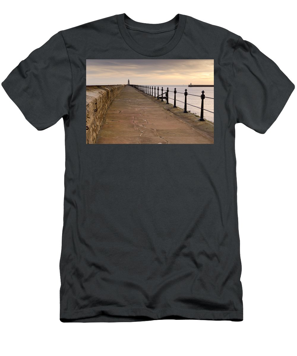 Beacon Men's T-Shirt (Athletic Fit) featuring the photograph Tynemouth North Pier by David Head