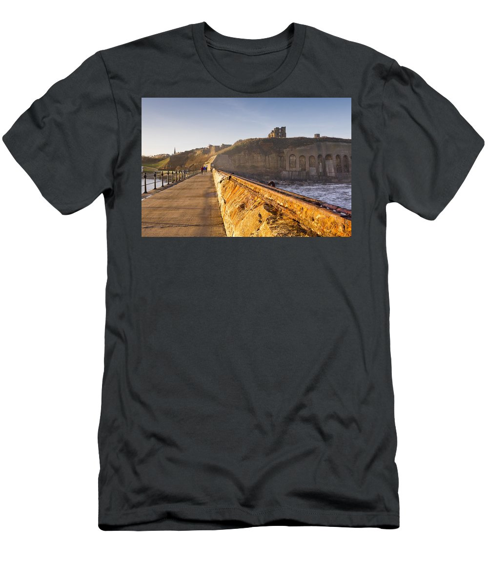 Ancient Men's T-Shirt (Athletic Fit) featuring the photograph Tynemouth Priory And Castle From North Pier by David Head
