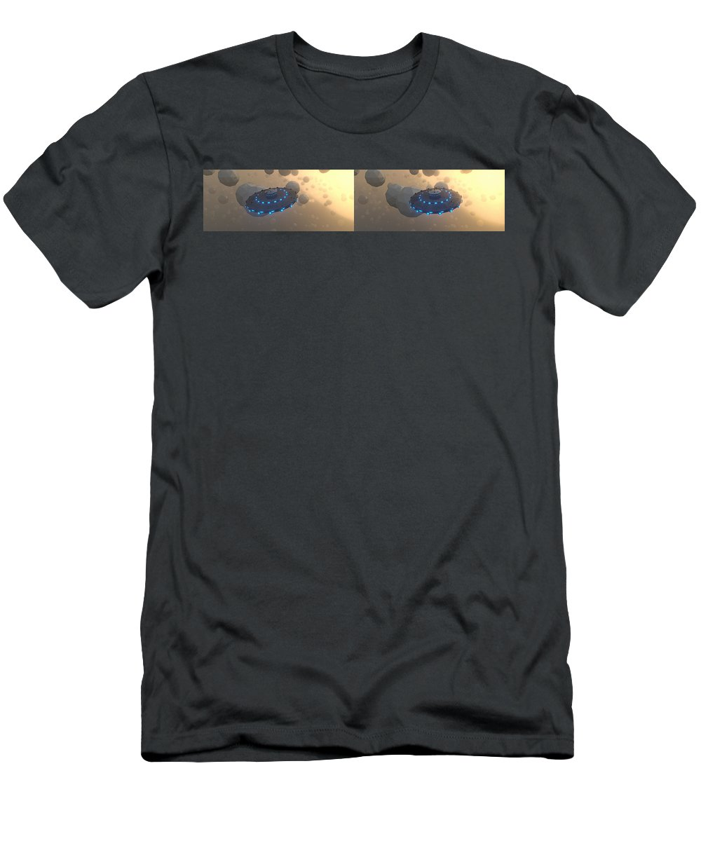 Marcin Men's T-Shirt (Athletic Fit) featuring the digital art UFO by Marcin and Dawid Witukiewicz