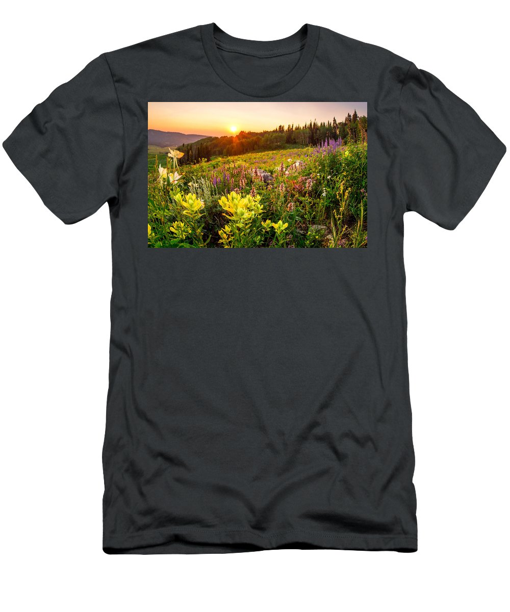 Uinta National Forest Men's T-Shirt (Athletic Fit) featuring the photograph Uinta Wildflowers by Emily Dickey