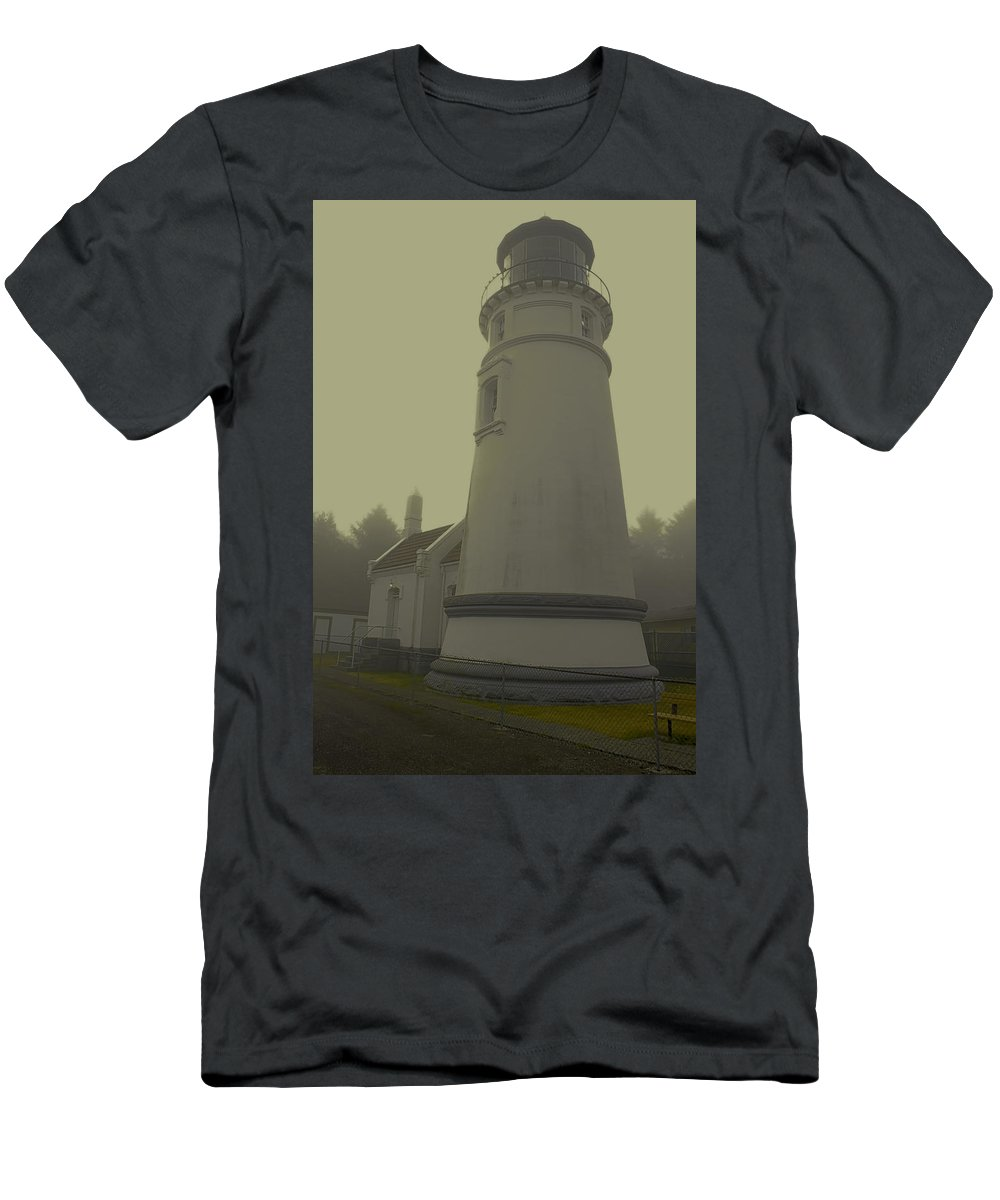 Men's T-Shirt (Athletic Fit) featuring the photograph Umpqua Lighthouse 2 by Cathy Anderson