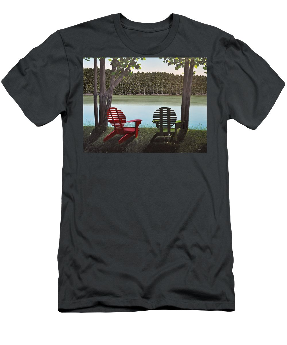 Landscapes Men's T-Shirt (Athletic Fit) featuring the painting Under Muskoka Trees by Kenneth M Kirsch