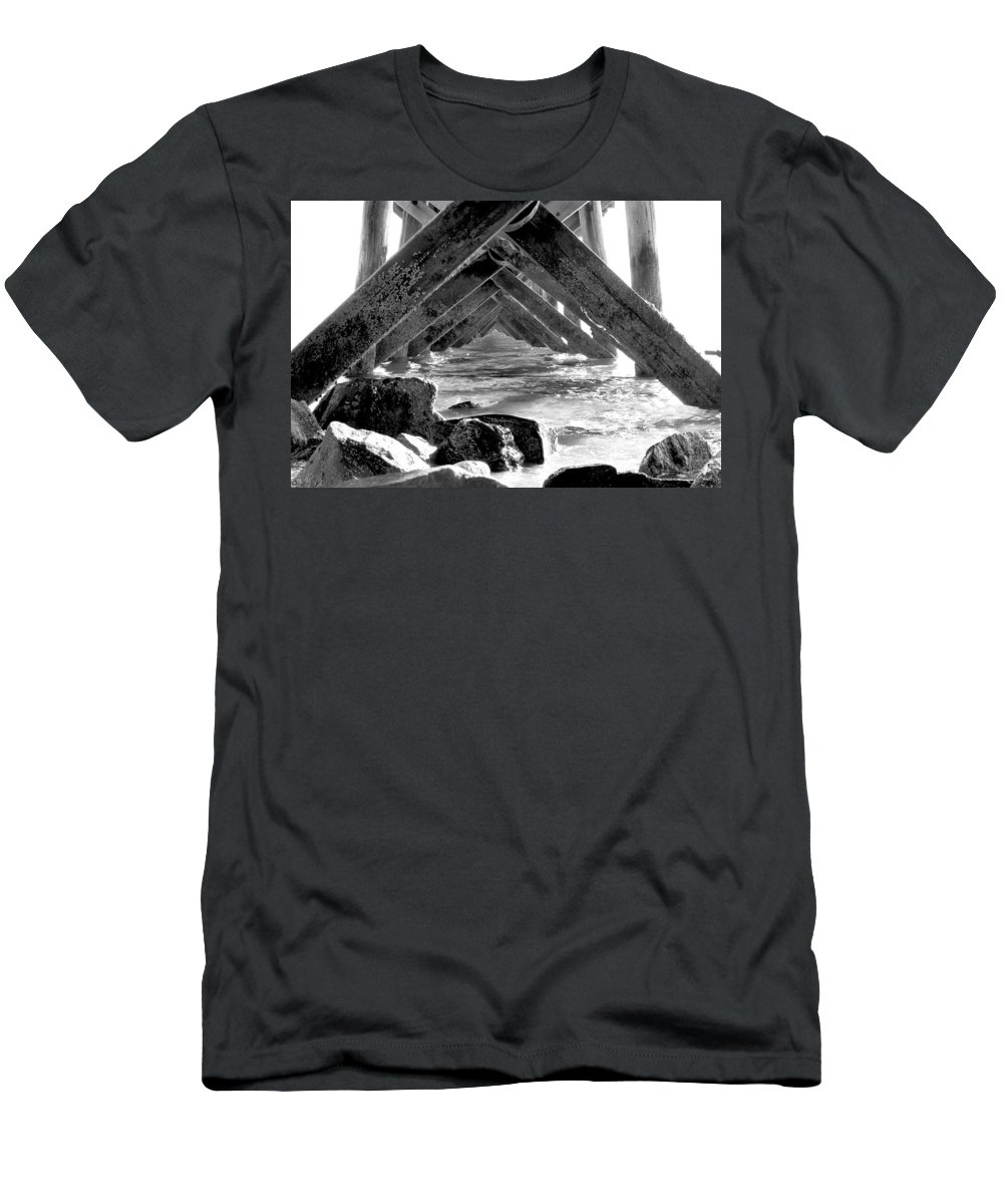 Water Men's T-Shirt (Athletic Fit) featuring the photograph Under The Boardwalk by Greg Fortier