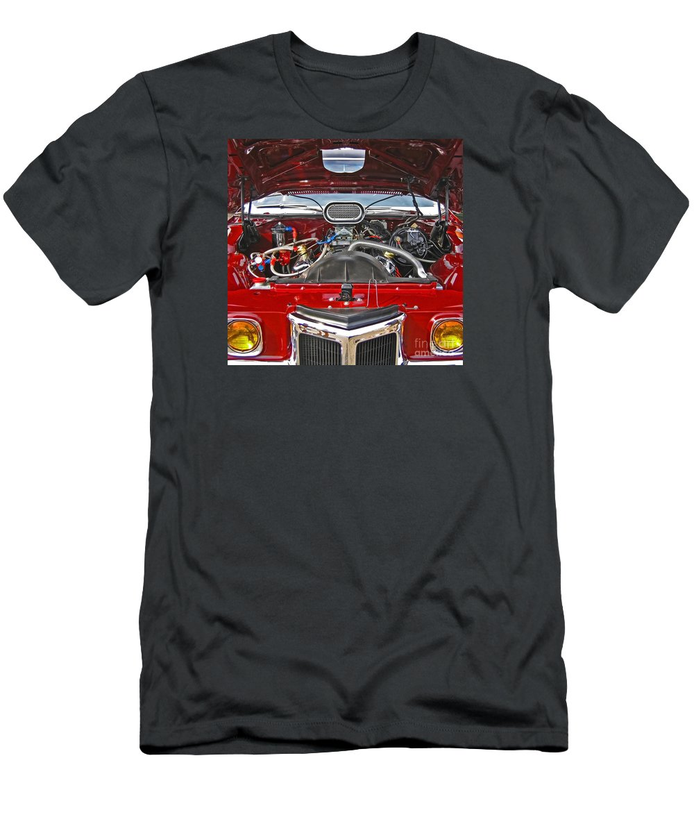 Car Men's T-Shirt (Athletic Fit) featuring the photograph Under The Hood by Ann Horn