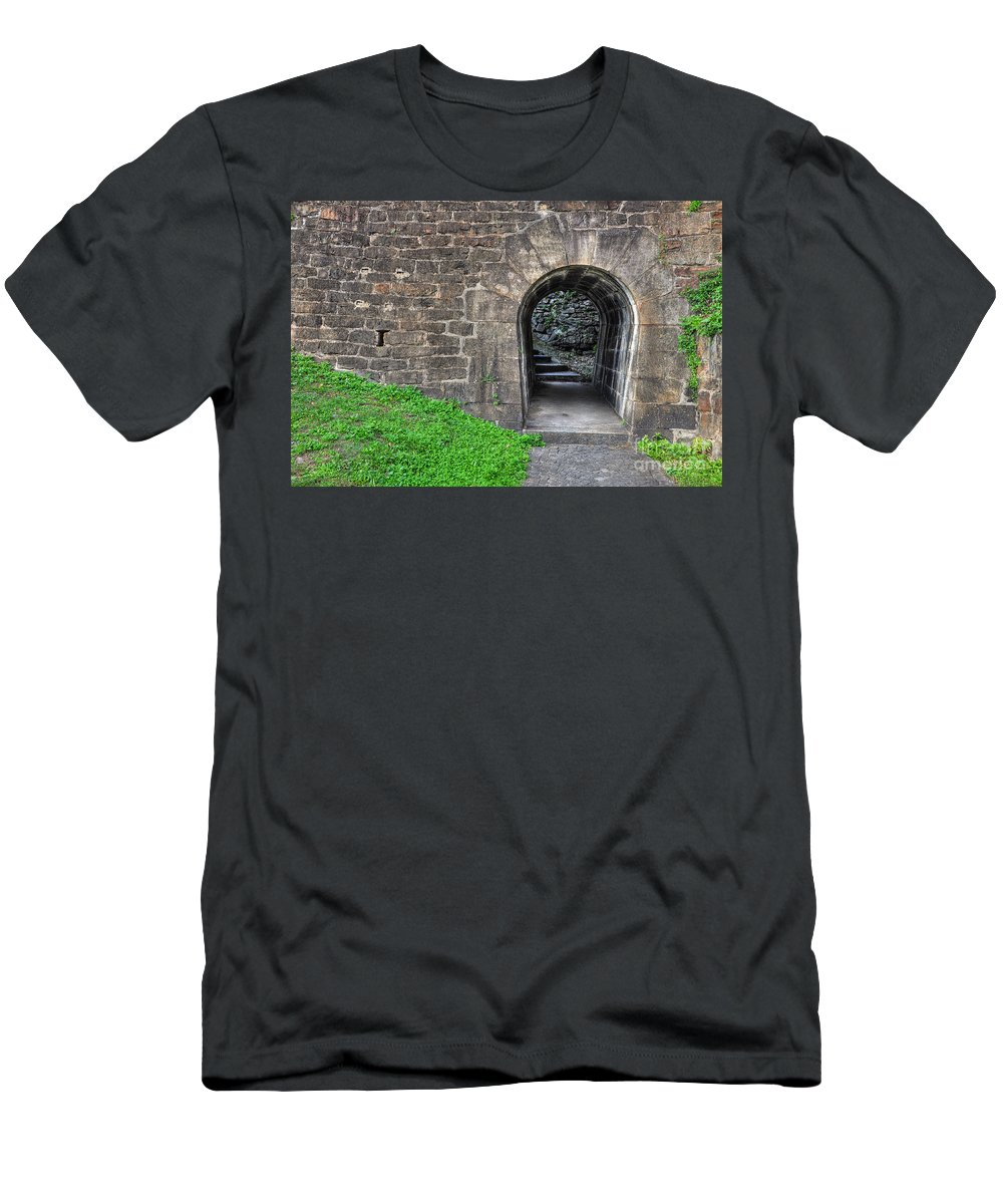 Tunnel Men's T-Shirt (Athletic Fit) featuring the photograph Underpass by Mats Silvan