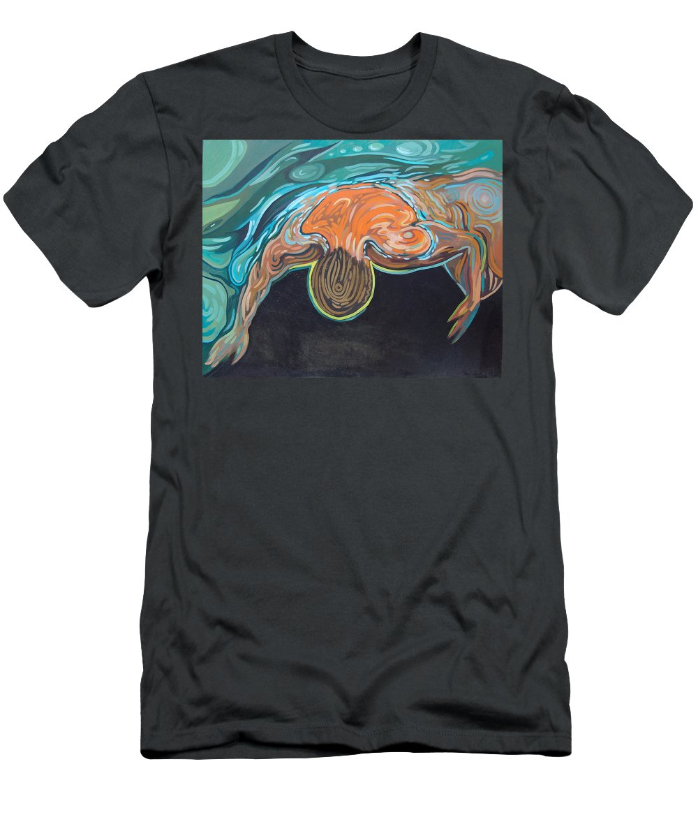 Water Men's T-Shirt (Athletic Fit) featuring the painting Underwater Swimmer. Part II   by Rita Pranca