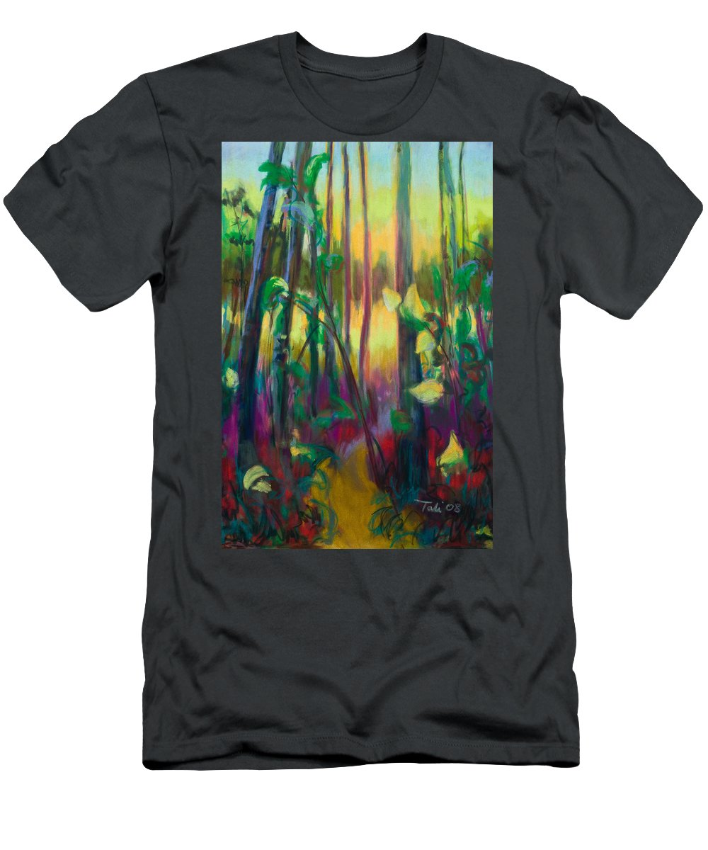Tree Men's T-Shirt (Athletic Fit) featuring the painting Unexpected Path - Through The Woods by Talya Johnson