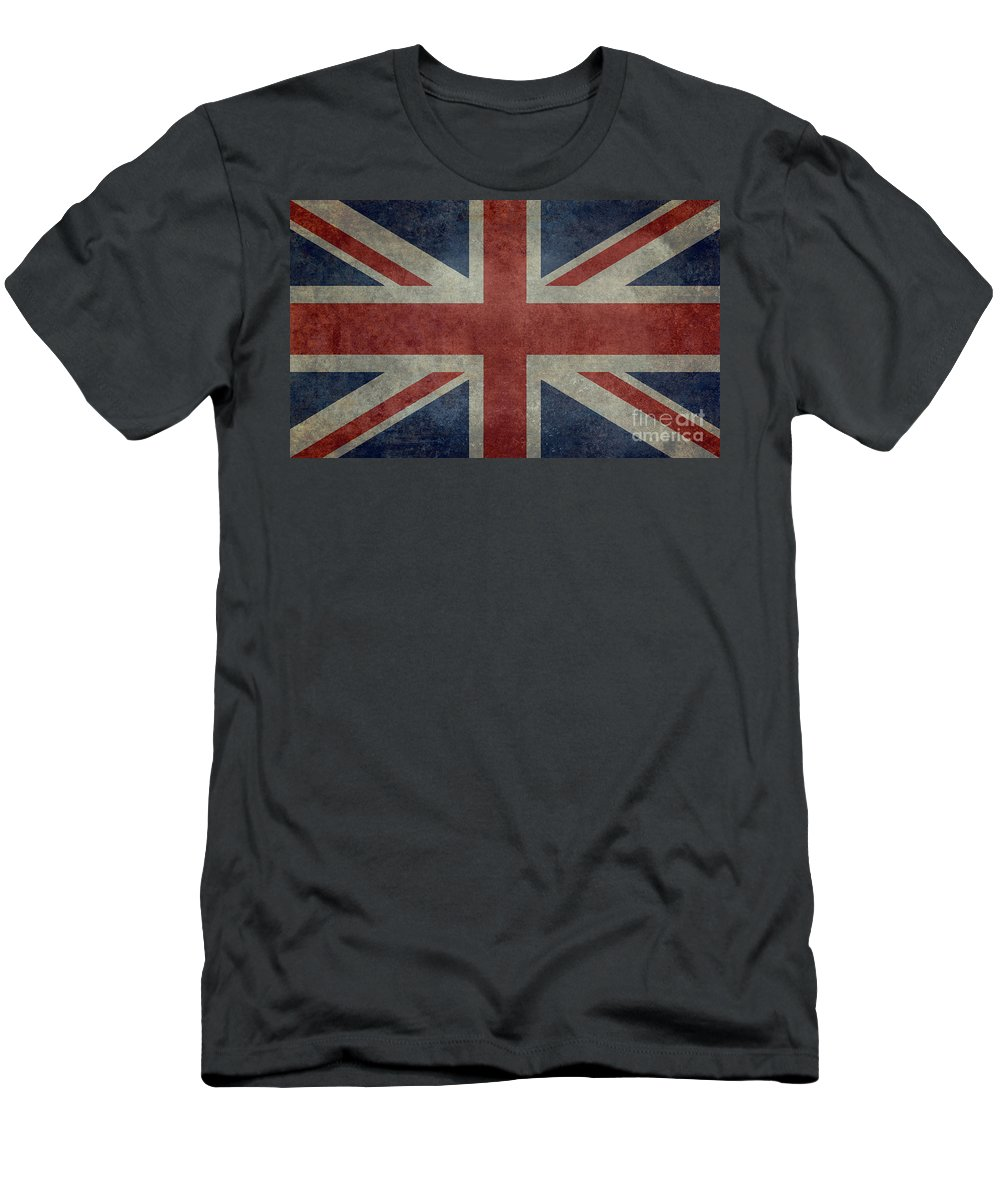 Red Men's T-Shirt (Athletic Fit) featuring the digital art Union Jack 3 By 5 Version by Bruce Stanfield