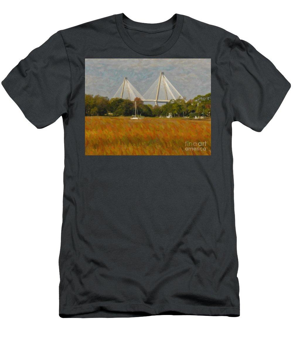 Arthur Ravenel Jr Bridge Men's T-Shirt (Athletic Fit) featuring the digital art Unique Bridge View by Dale Powell