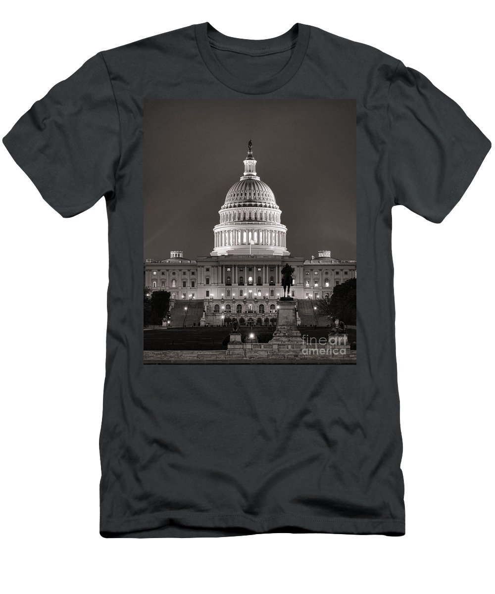 Washington Men's T-Shirt (Athletic Fit) featuring the photograph United States Capitol At Night by Olivier Le Queinec