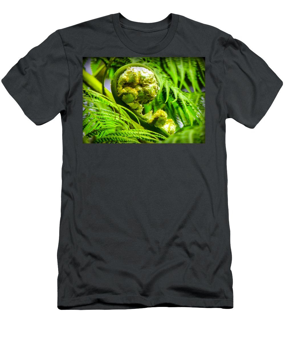 Green Men's T-Shirt (Athletic Fit) featuring the photograph Unveiling Life by Karen Wiles