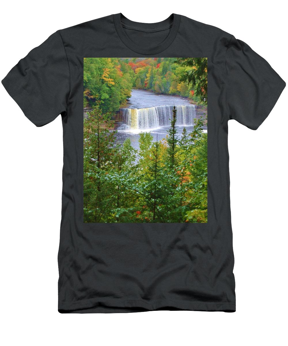 Tahquamenon Falls Men's T-Shirt (Athletic Fit) featuring the photograph Upper Tahquamenon Falls In Early Autumn by Kathryn Lund Johnson