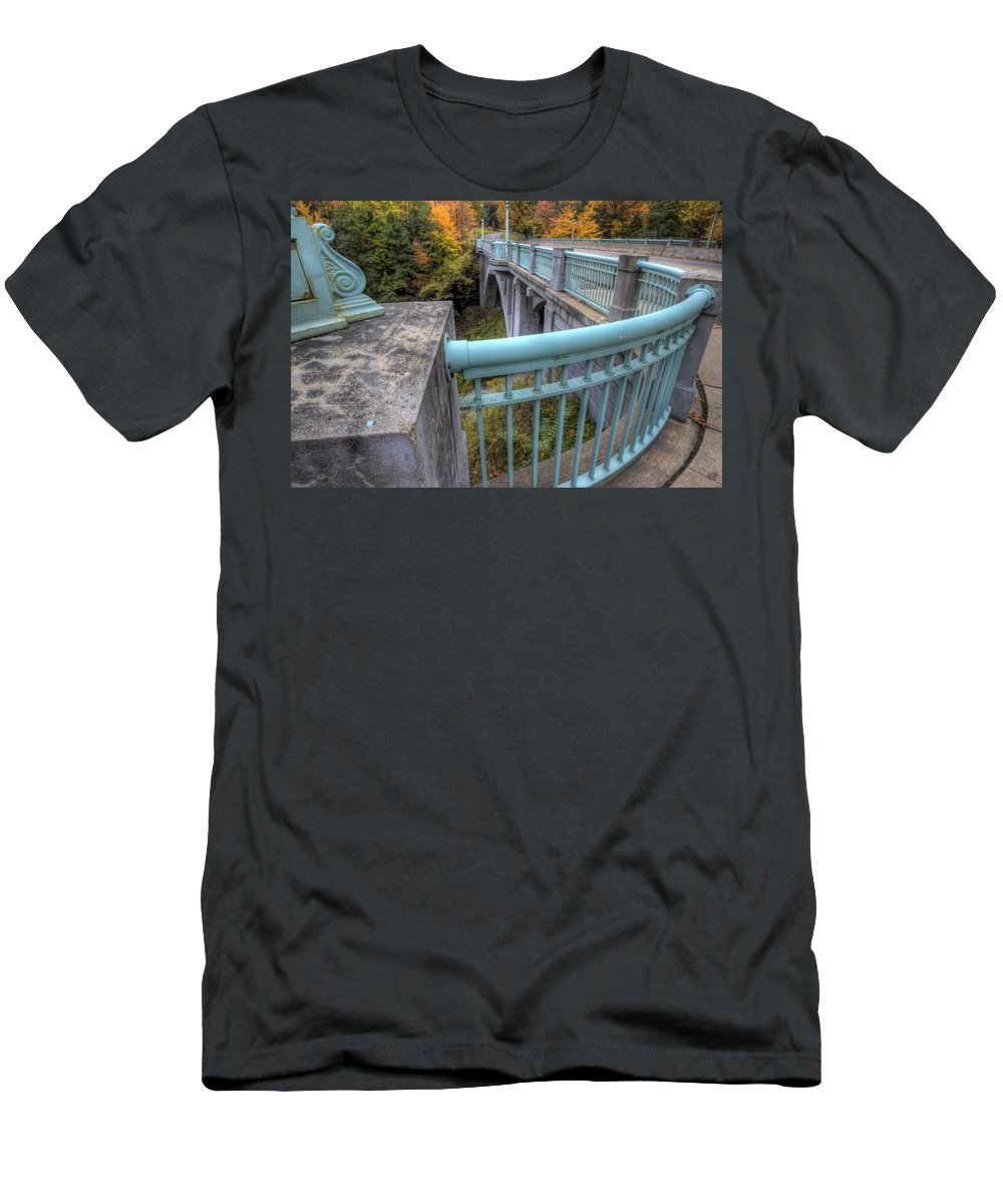 Us Route 62 Men's T-Shirt (Athletic Fit) featuring the photograph Us 62 At Mill Creek Park In Fall by David Dufresne