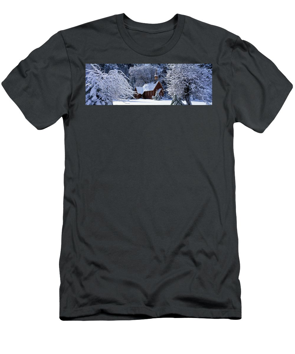 Photography Men's T-Shirt (Athletic Fit) featuring the photograph Usa, California, Yosemite Park, Chapel by Panoramic Images
