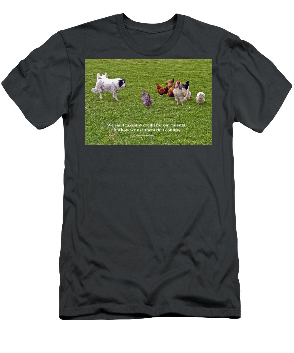 Border Collie Dog Herding Rooster & Chickens Men's T-Shirt (Athletic Fit) featuring the photograph Using Talents by Sally Weigand