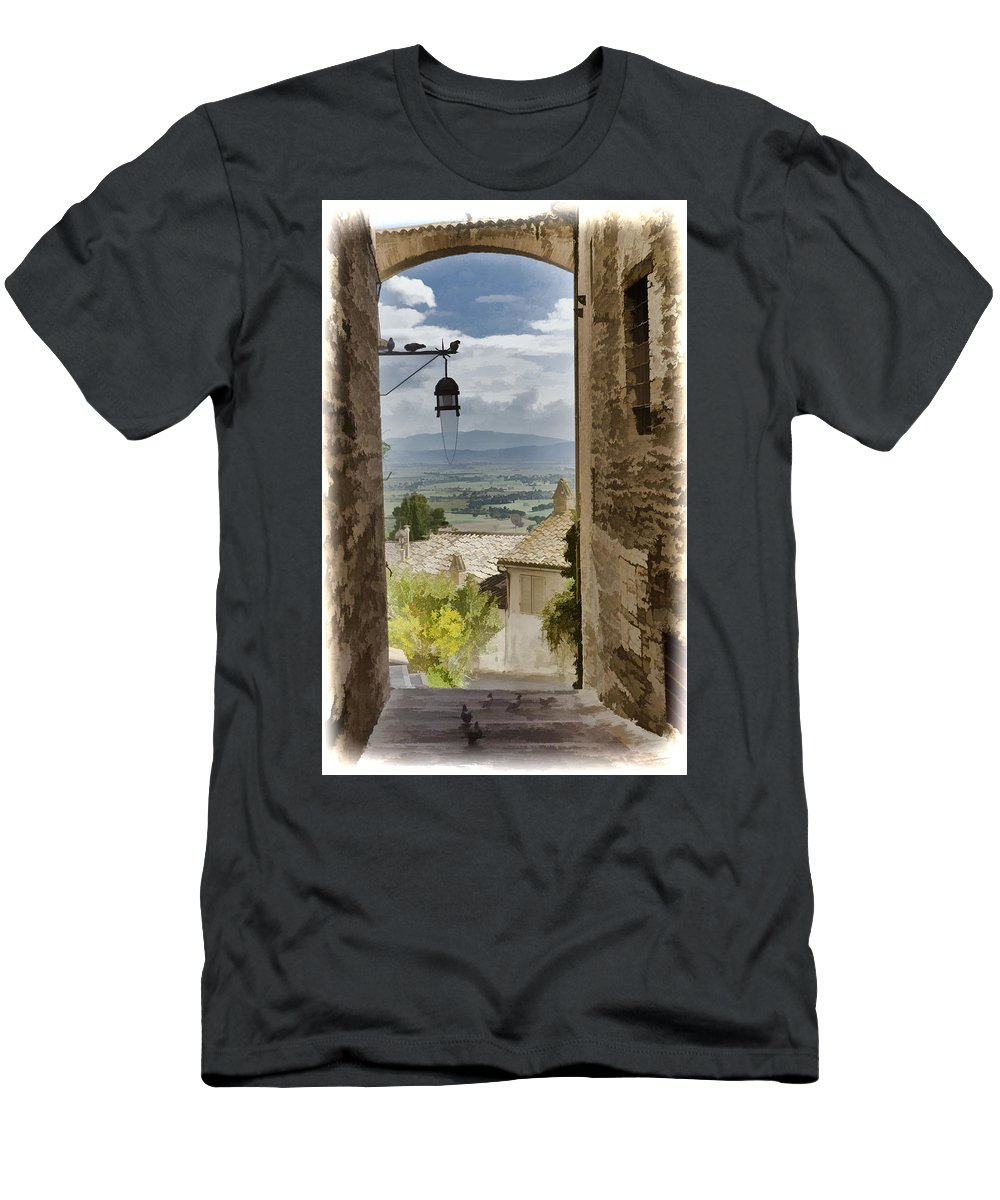 Italy Men's T-Shirt (Athletic Fit) featuring the photograph Valley View - Assisi by Jon Berghoff