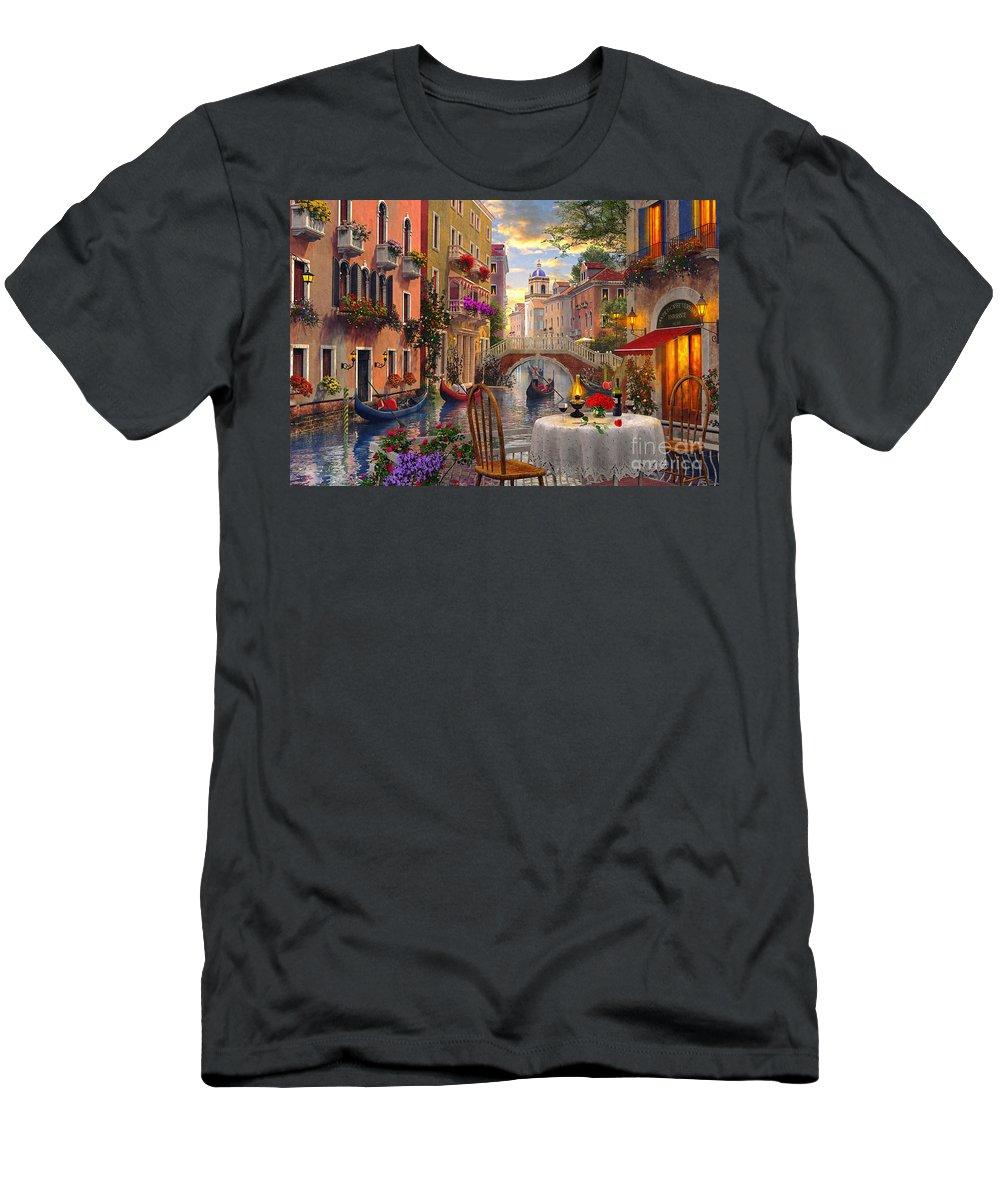 Dominic Davison T-Shirt featuring the digital art Venice Al fresco by MGL Meiklejohn Graphics Licensing