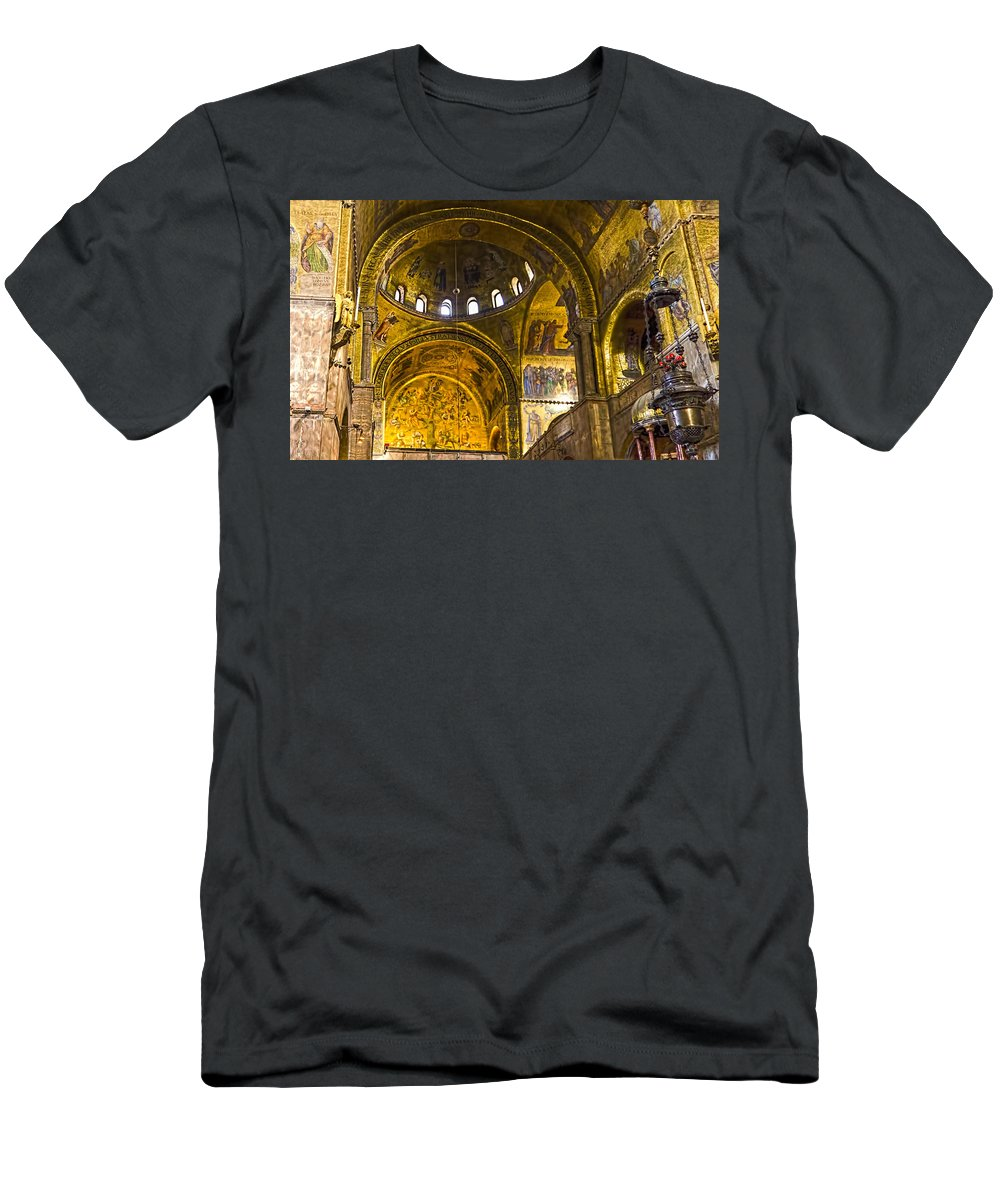 Venice Italy Men's T-Shirt (Athletic Fit) featuring the photograph Venice - St Marks Basilica Interior by Jon Berghoff