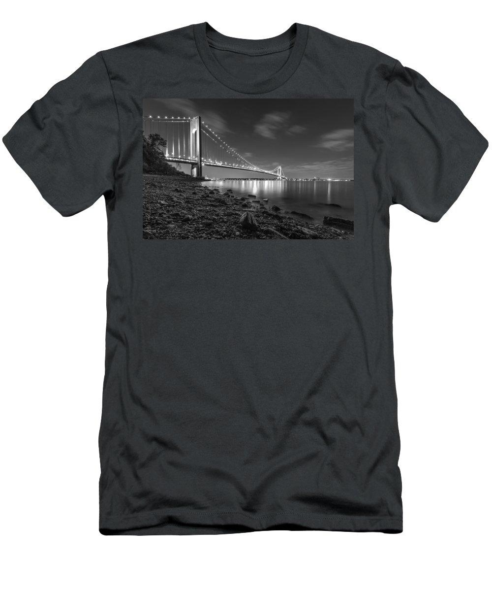 Verrazano Narrows Bridge Men's T-Shirt (Athletic Fit) featuring the photograph Verrazano-narrows Bridge Bw by Valeriy Shvetsov