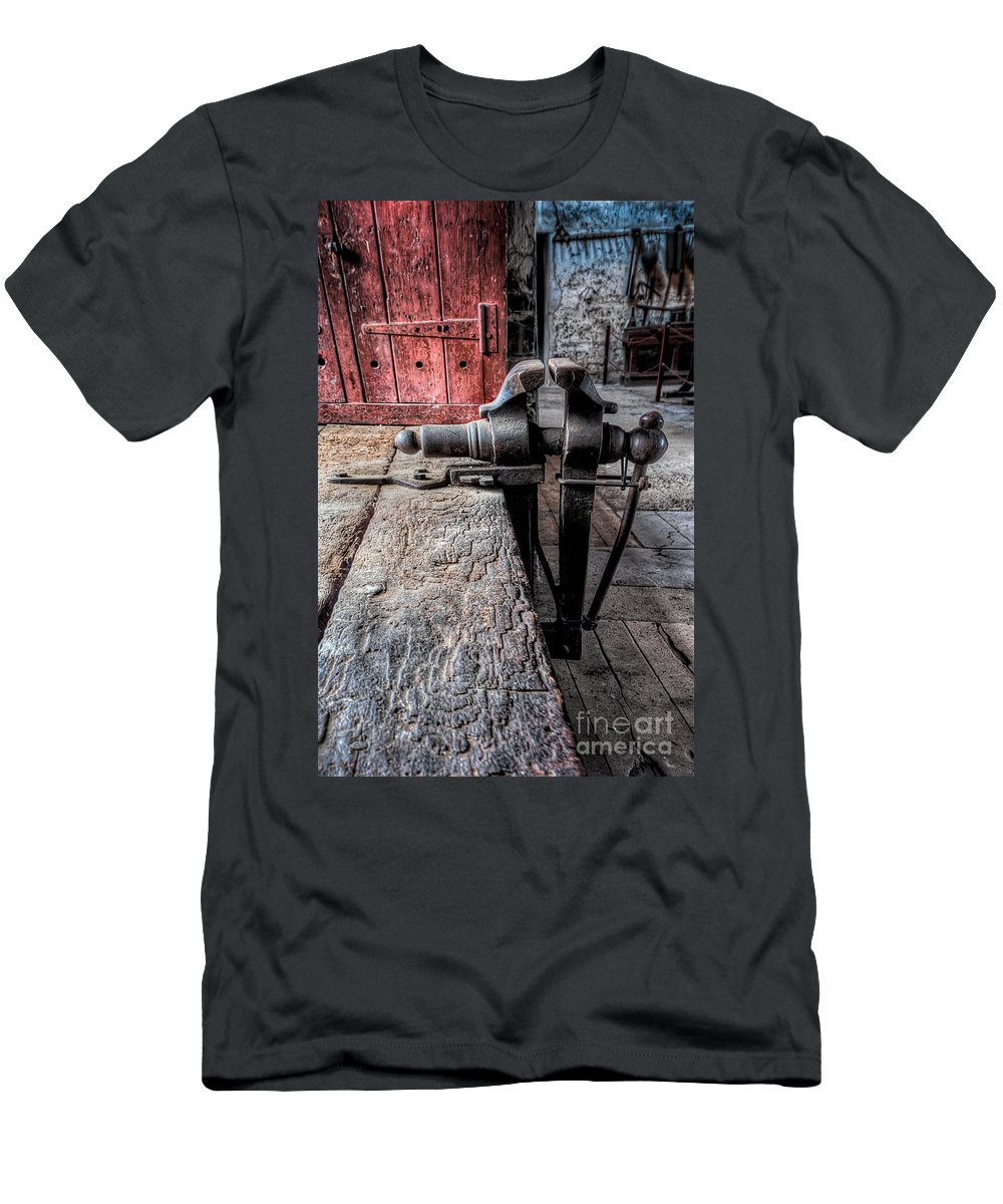 Architecture Men's T-Shirt (Athletic Fit) featuring the photograph Victorian Bench Vice by Adrian Evans
