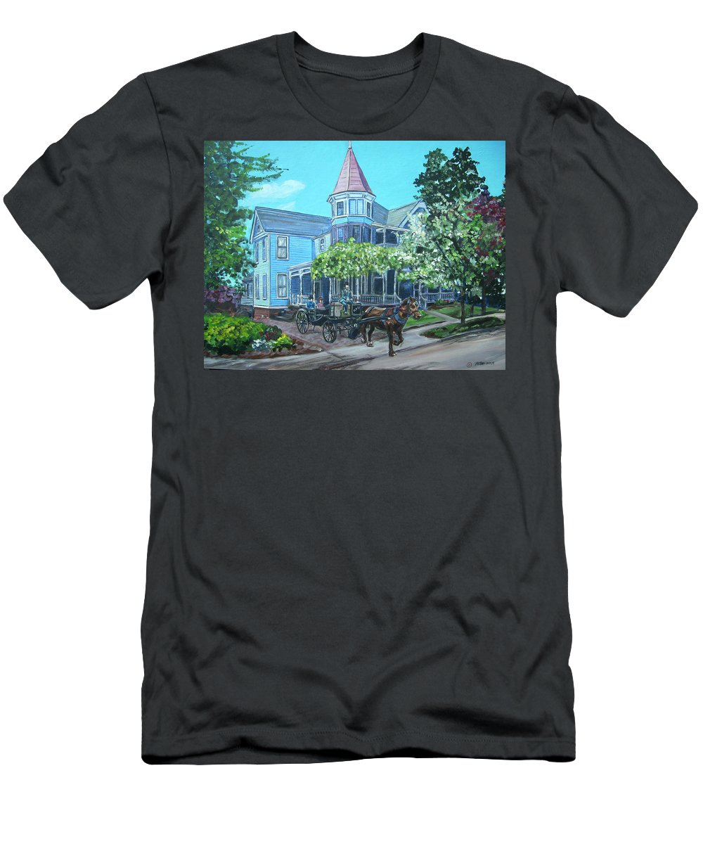 Victorian Men's T-Shirt (Athletic Fit) featuring the painting Victorian Greenville by Bryan Bustard