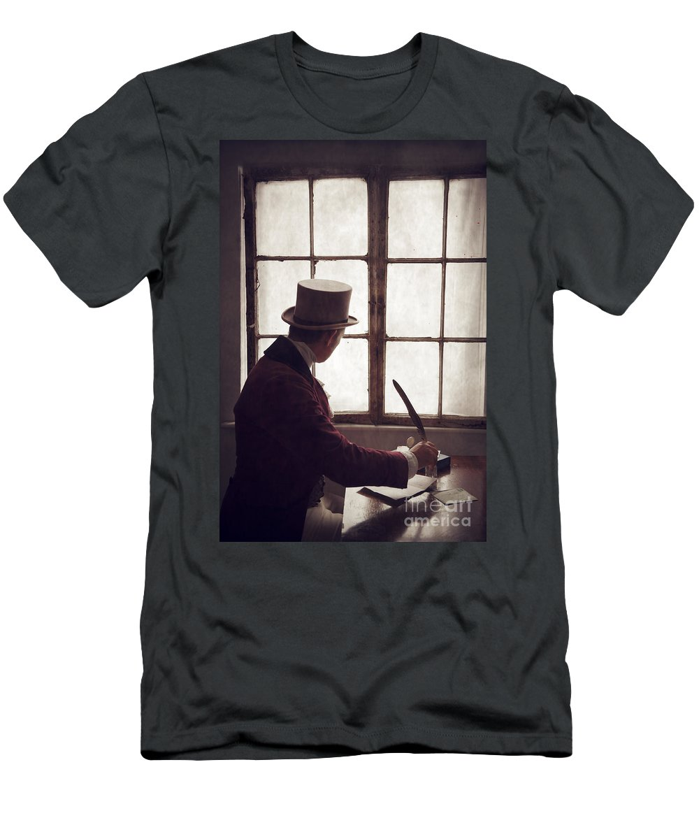 Gentleman Men's T-Shirt (Athletic Fit) featuring the photograph Victorian Man Writing With A Quill At His Desk by Lee Avison