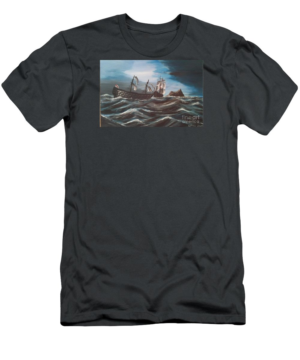 Battle Of Trafalgar Men's T-Shirt (Athletic Fit) featuring the painting Victory At Gibraltar by Richard John Holden RA