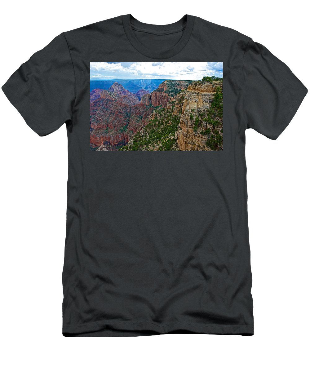View Five From Walhalla Overlook On On North Rim/grand Canyon National Park Men's T-Shirt (Athletic Fit) featuring the photograph View Five From Walhalla Overlook On North Rim Of Grand Canyon-arizona by Ruth Hager