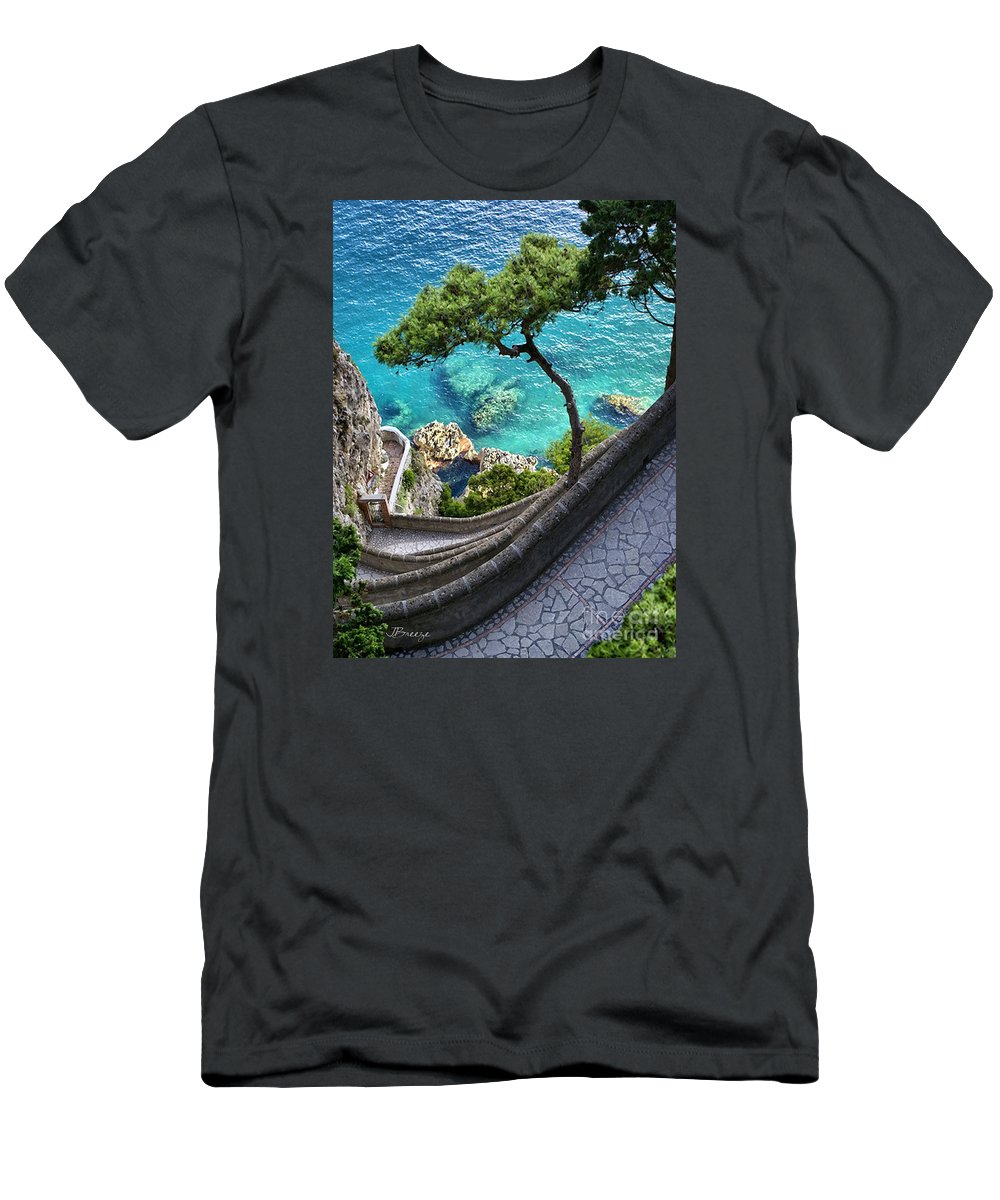 Italy Men's T-Shirt (Athletic Fit) featuring the photograph View From Capri.italy by Jennie Breeze