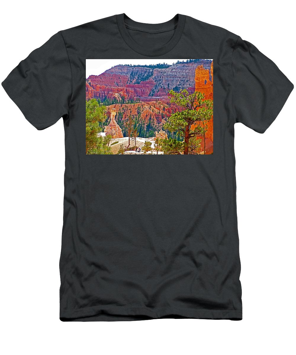 View From Queen's Garden Trail In Bryce Canyon Men's T-Shirt (Athletic Fit) featuring the photograph View From Queen's Garden Trail In Bryce Canyon National Park-utah by Ruth Hager