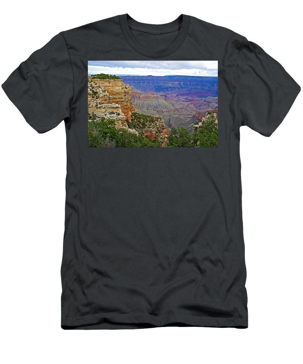 View From Walhalla Overlook On On North Rim/grand Canyon National Park Men's T-Shirt (Athletic Fit) featuring the photograph View From Walhalla Overlook On North Rim Of Grand Canyon-arizona by Ruth Hager