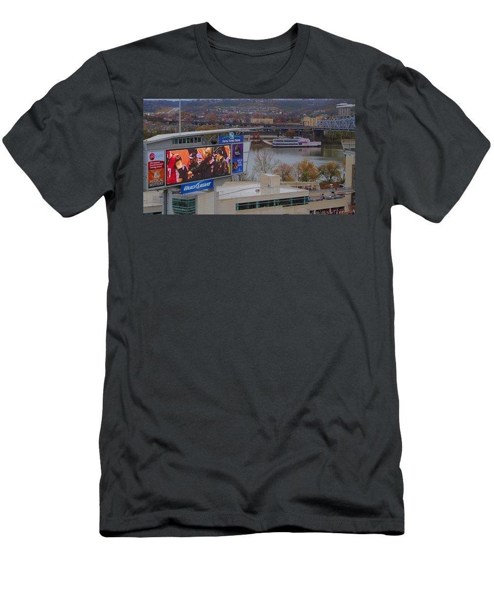View Of Cincinnati Men's T-Shirt (Athletic Fit) featuring the photograph View Of Cincinnati by Dan Sproul