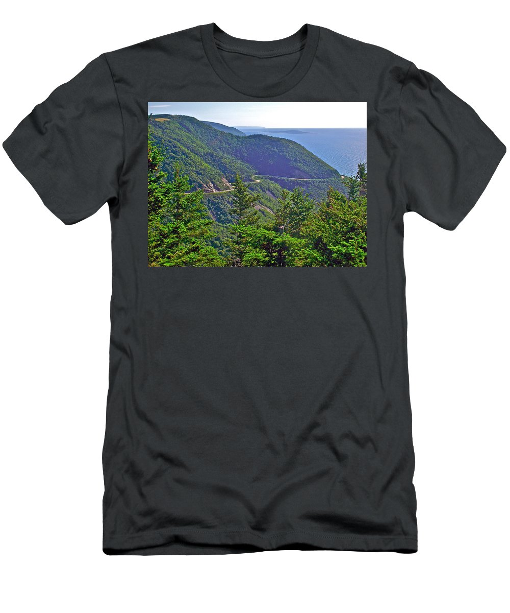 View Of Highlands Road From Skyline Trail In Cape Breton Highlands Np Men's T-Shirt (Athletic Fit) featuring the photograph View Of Highlands Road From Skyline Trail In Cape Breton Highlands Np-ns by Ruth Hager