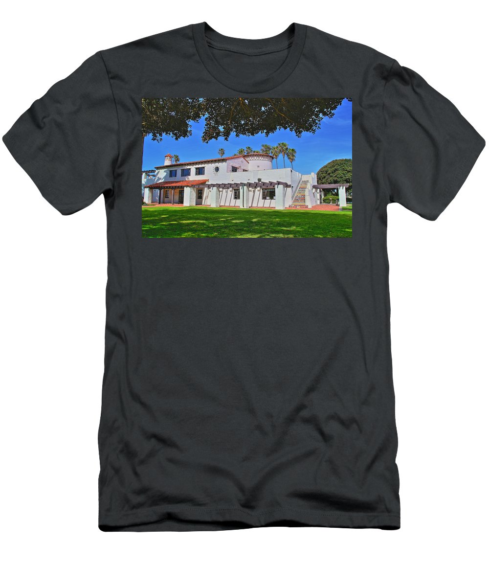 Ole Hanson Beach Club San Clemente Men's T-Shirt (Athletic Fit) featuring the photograph View Of Ole Hanson Beach Club San Clemente by Richard Cheski