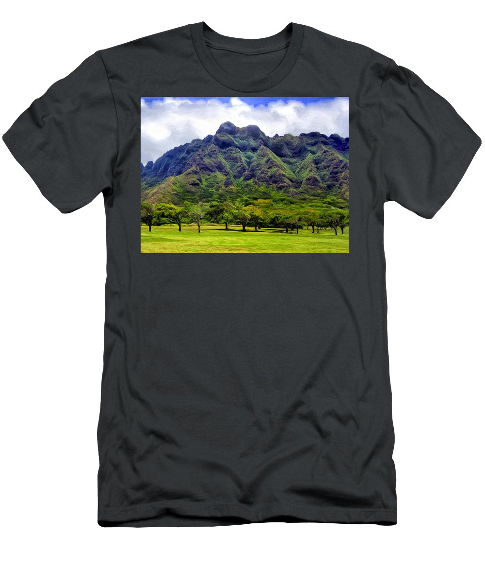 Mountains Men's T-Shirt (Athletic Fit) featuring the painting View Of The Koolau Range by Dominic Piperata