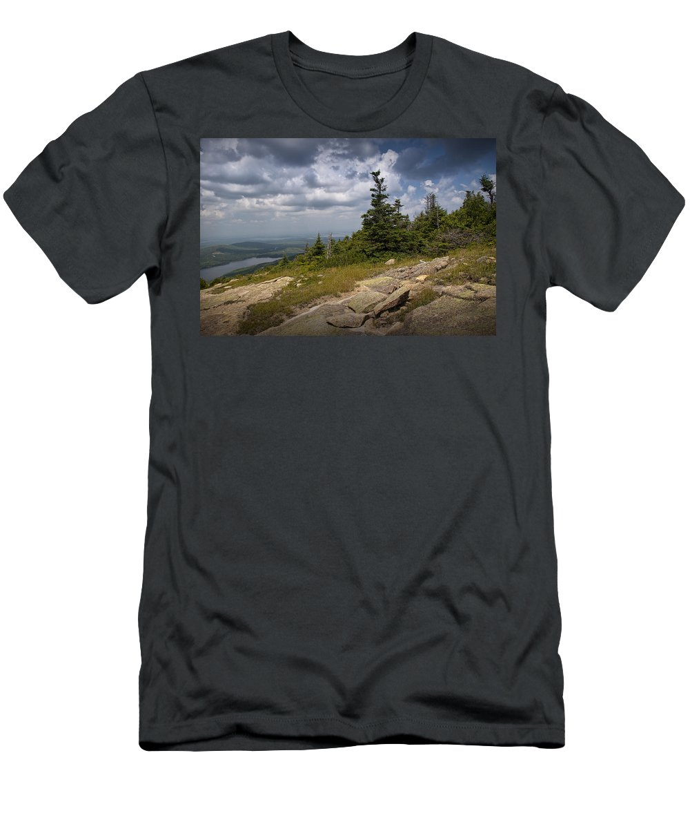 Art Men's T-Shirt (Athletic Fit) featuring the photograph View On Top Of Cadilac Mountain In Acadia National Park by Randall Nyhof