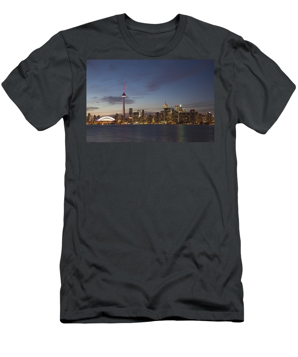 Canada Men's T-Shirt (Athletic Fit) featuring the photograph View Over Lake Ontario Of The Downtown by Mark Thomas