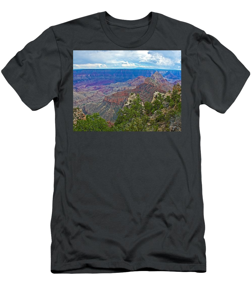 View Two From Walhalla Overlook On On North Rim/grand Canyon National Park Men's T-Shirt (Athletic Fit) featuring the photograph View Two From Walhalla Overlook On North Rim Of Grand Canyon-arizona by Ruth Hager