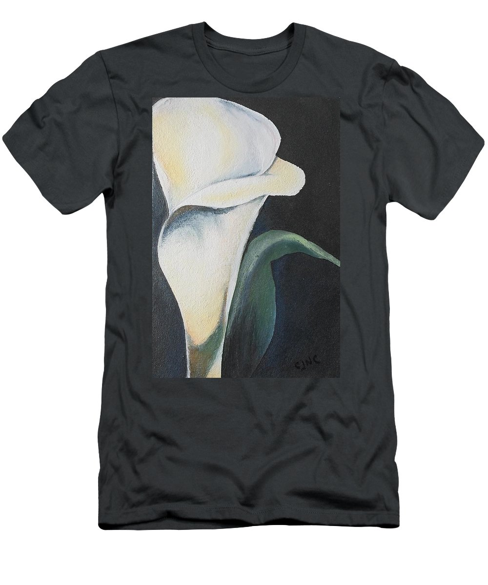 Flower Men's T-Shirt (Athletic Fit) featuring the painting Vignettes - Calla Lily Ll by Catherine JN Christopher