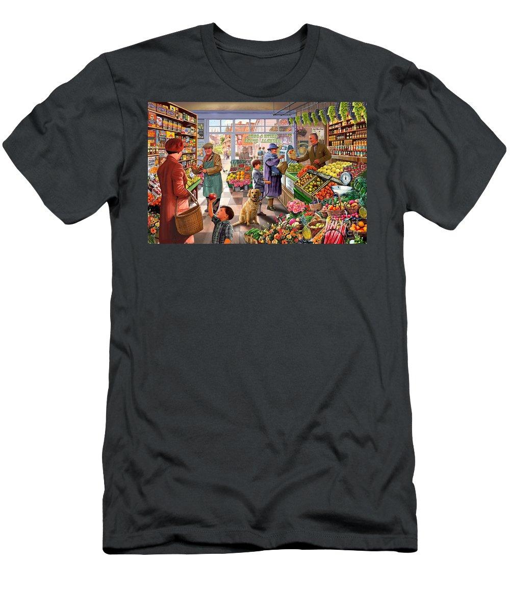 Fruit And Veg Men's T-Shirt (Athletic Fit) featuring the digital art Village Greengrocer by Steve Crisp