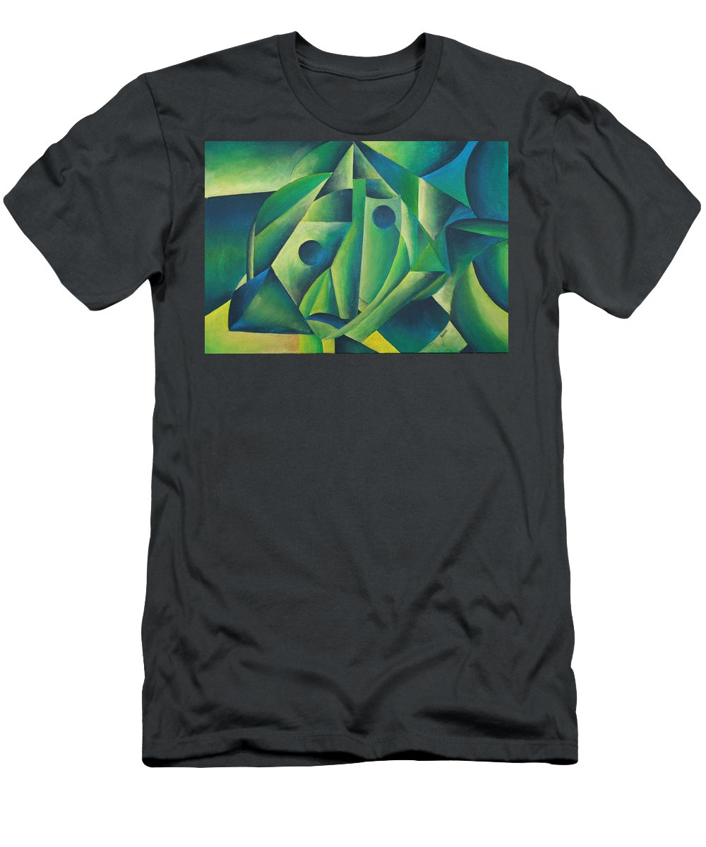 Abstract Men's T-Shirt (Athletic Fit) featuring the painting Village Woman Wearing A Headscarf by Taiche Acrylic Art