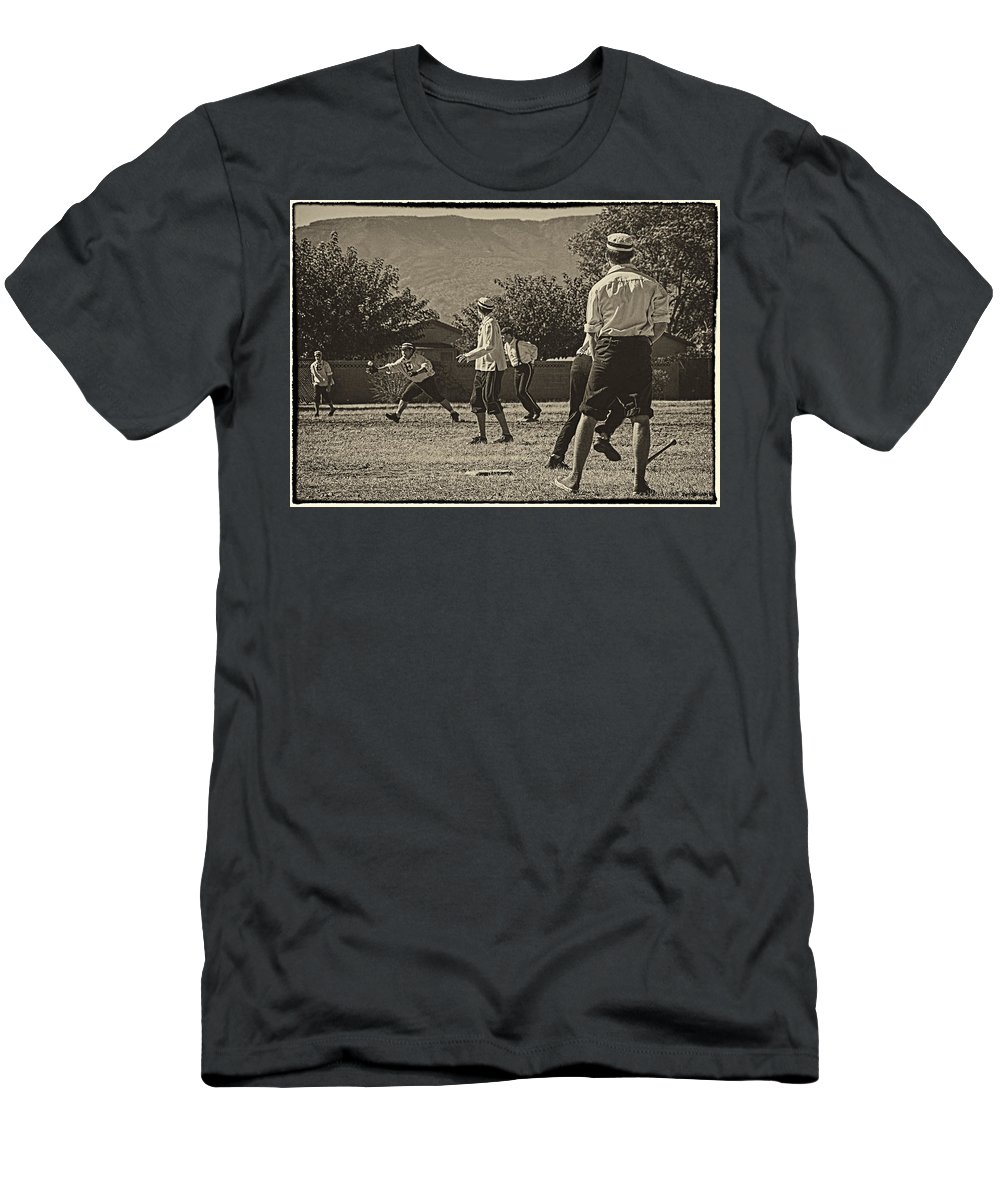 Vintage Baseball Men's T-Shirt (Athletic Fit) featuring the photograph Vintage Baseball by Priscilla Burgers
