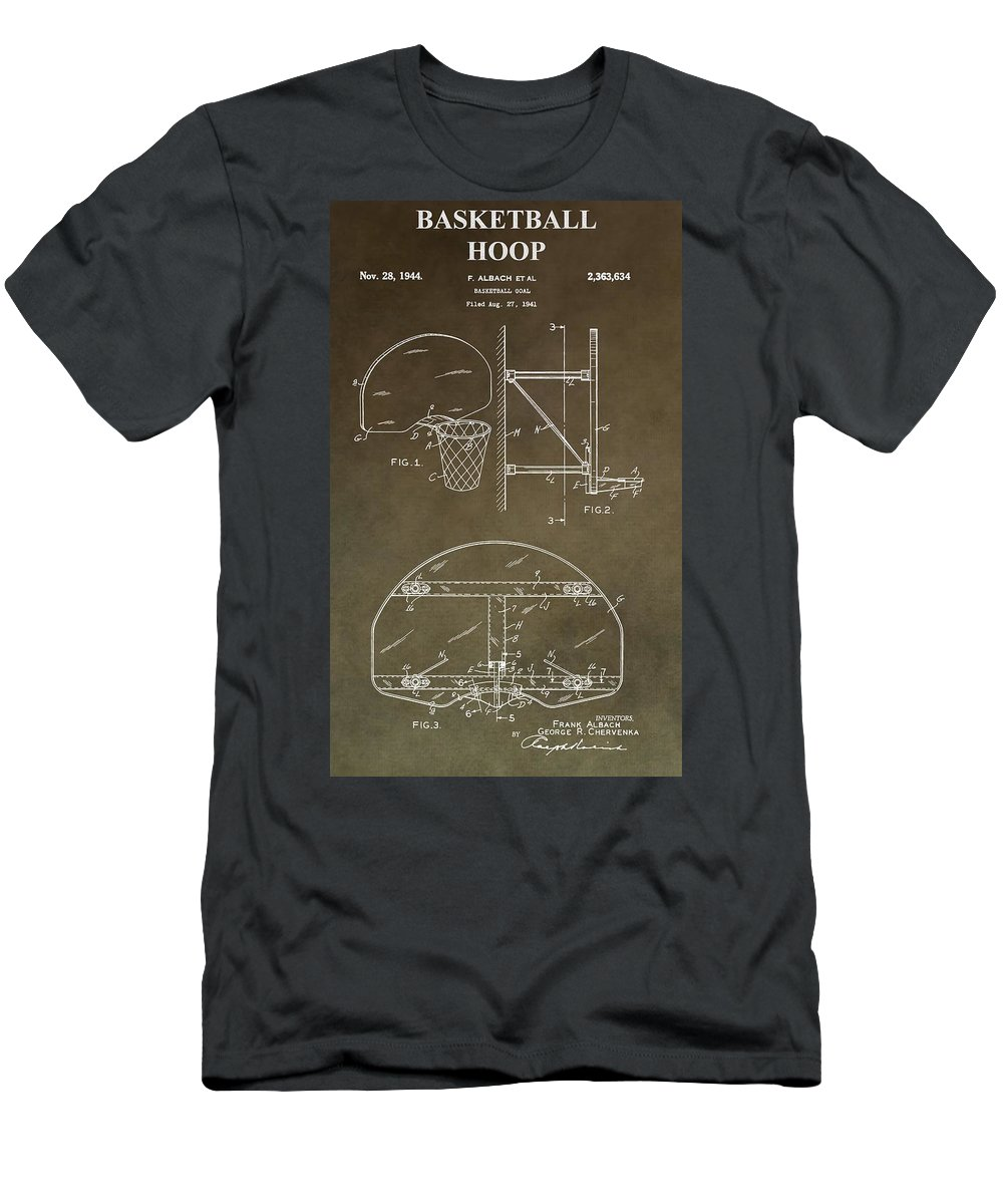 Basketball Hoop Patent Men's T-Shirt (Athletic Fit) featuring the digital art Vintage Basketball Hoop Patent by Dan Sproul