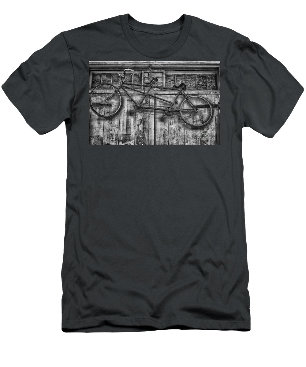 Bicycle Men's T-Shirt (Athletic Fit) featuring the photograph Vintage Bicycle Built For Two In Black And White by Kathleen K Parker